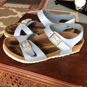 Birkenstock kids blue embossed sandals size 32